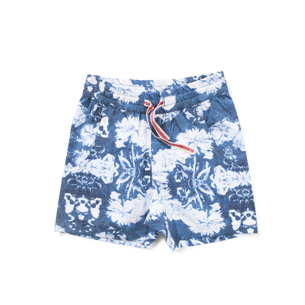 Munster Kids - Boys Navy Dead Flower Shorts - Bon Bon Tresor - 1