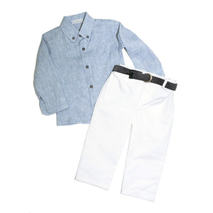 Angel Baby - Baby Boy Smart 3 Piece Shirt/Polo Set | Christening Suits & Sets | Bon Bon Tresor