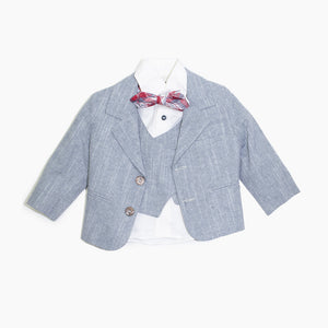 Dolce Bambini - Baby Boy 4 Piece Blue Marle Pinstripe Linen Suit | Christening Suits & Sets | Bon Bon Tresor