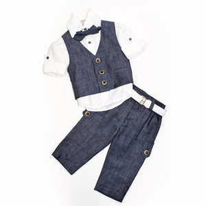 Dolce Bambini - Baby Boy 3 Piece Navy Marle Linen Suit | Christening Suits & Sets | Bon Bon Tresor