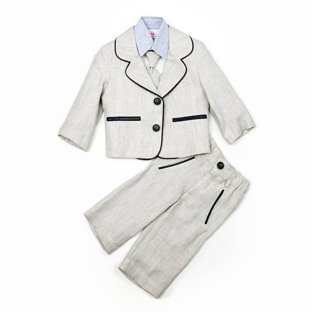 Dolce Bambini - Baby Boy 3 Piece Grey Marle Linen Suit | Christening Suits & Sets | Bon Bon Tresor