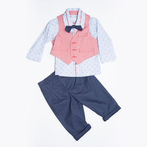 Angel Baby - Baby Boy 4 Piece Red/Navy Suit | Christening Suits & Sets | Bon Bon Tresor