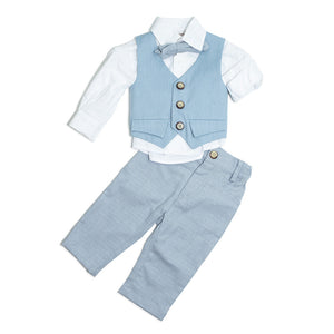 Dolce Bambini - Baby Boy 3 Piece Blue Suit | Christening Suits & Sets | Bon Bon Tresor