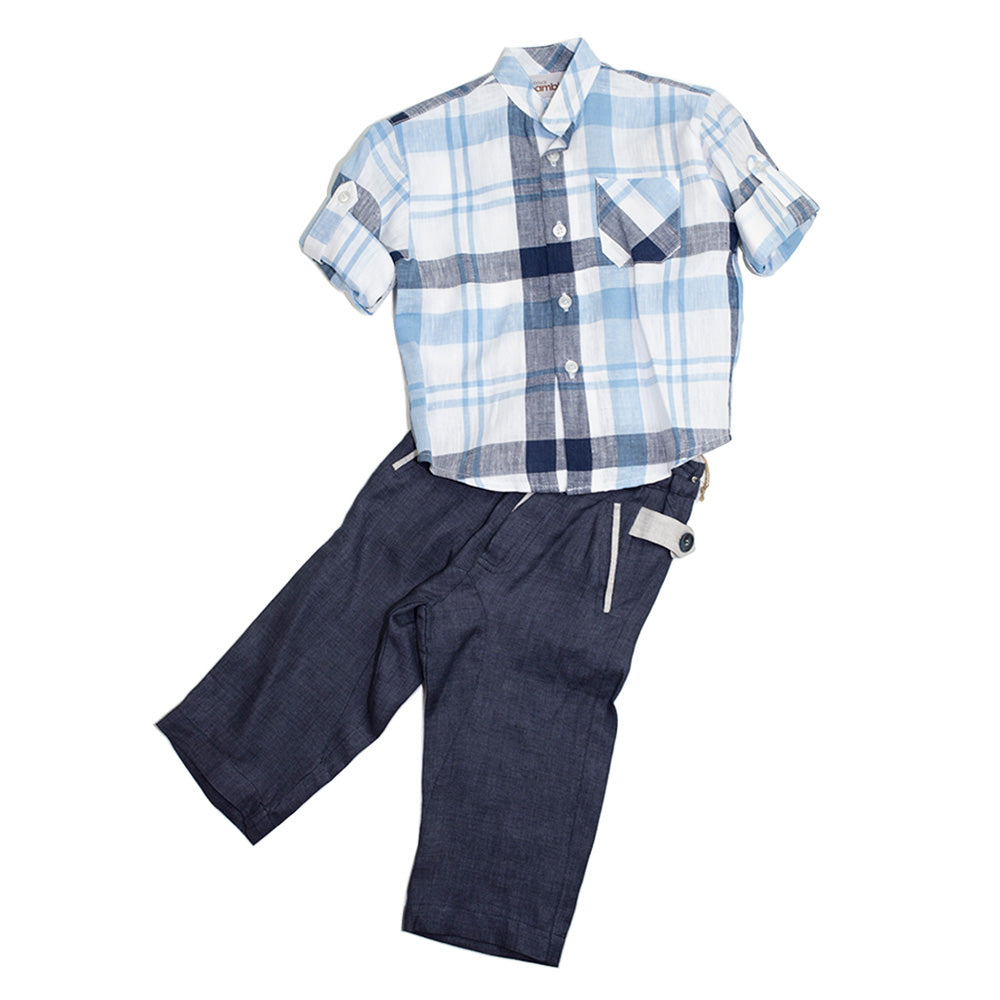 Dolce Bambini - Boys Blue Linen Set | Suits | Bon Bon Tresor