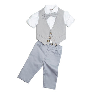 Dolce Bambini - Baby Boy 4 Piece Light Grey Suit | Christening Suits & Sets | Bon Bon Tresor