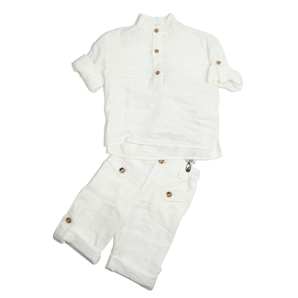 Dolce Bambini - Boys White Linen Set | Suits | Bon Bon Tresor