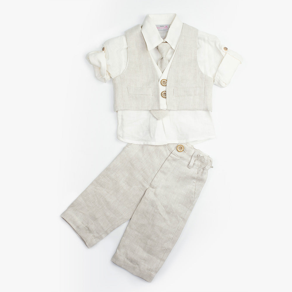 07ab2f054 ... Dolce Bambini - Baby Boy 4 Piece Beige Linen Suit   Christening Suits &  Sets ...