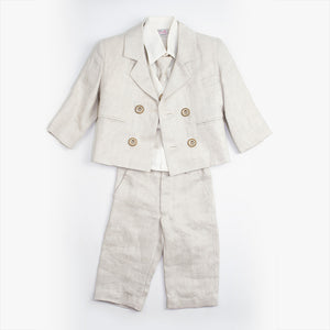 Dolce Bambini - Baby Boy 4 Piece Beige Linen Suit | Christening Suits & Sets | Bon Bon Tresor