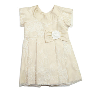 Styled By Alexandros - Girls Ivory Silk Lace Party Dress | Party Dresses | Bon Bon Tresor