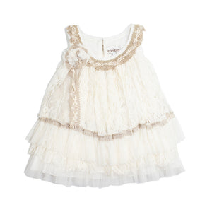 Dolce Bambini - Girls Beige Lace Applique Party Dress | Party Dresses | Bon Bon Tresor