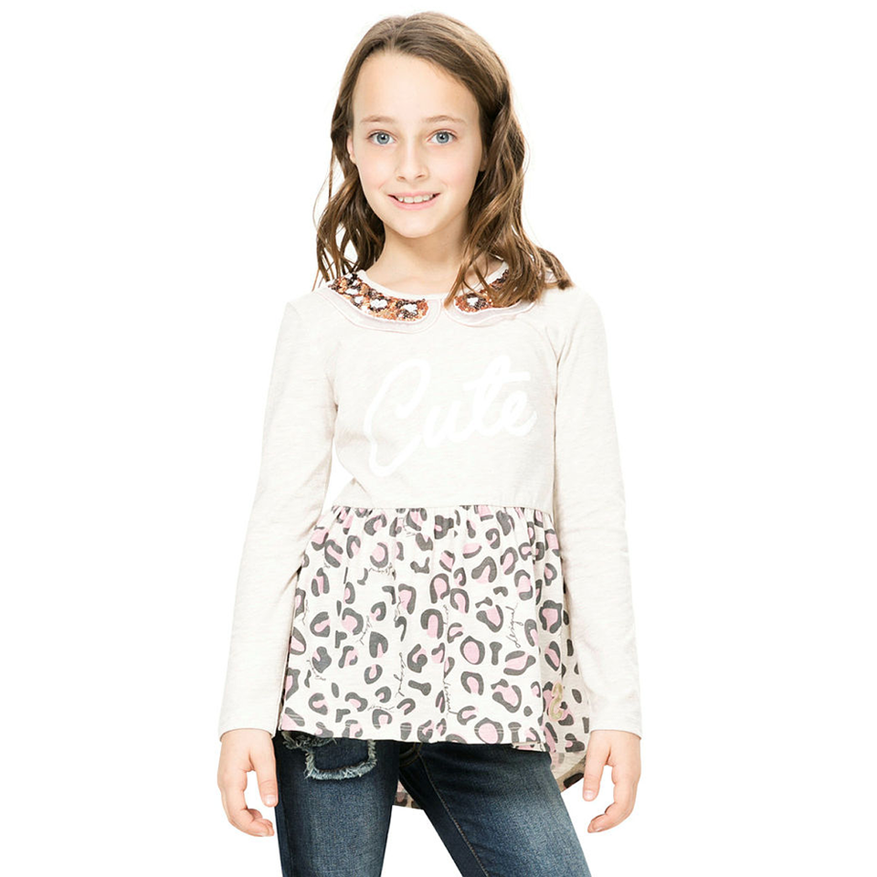 Desigual Kidswear - Girls Long Sleeve Peter Pan Top | Tops & T-Shirts | Bon Bon Tresor
