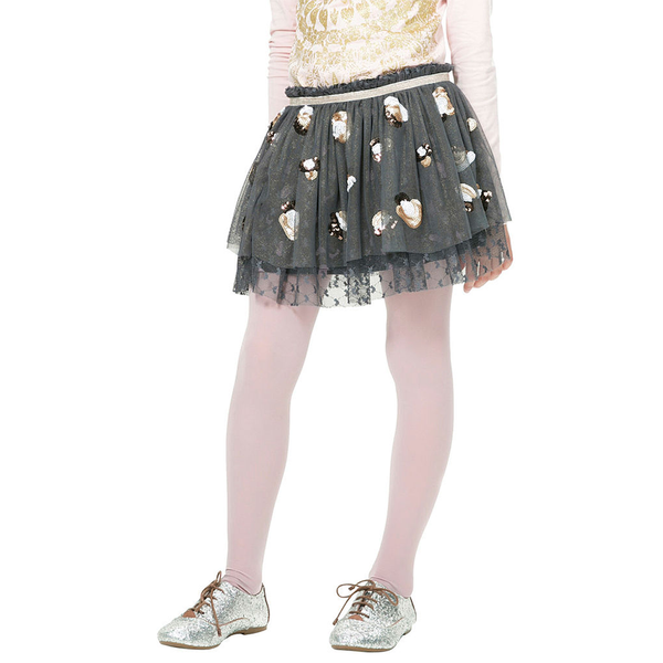 Desigual Kidswear - Girls Sequined Black Tulle Skirt
