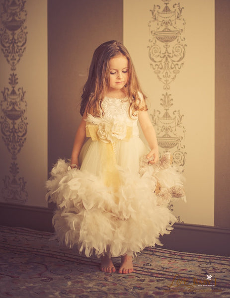An Enchanted Heirloom - A Lovely Satin And Feather Ball Gown | Special Occasion | Bon Bon Tresor