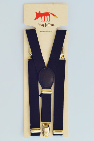 Foxy Fellow - Boys Hamptons Prep Black Suspenders - Bon Bon Tresor