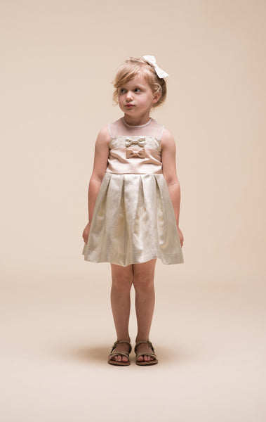 Hucklebones - Girls Metallic Gold Bodice Dress - Bon Bon Tresor - 4