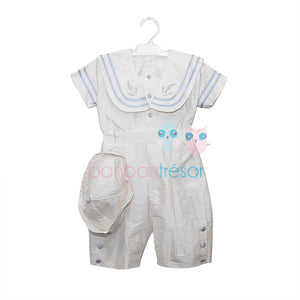 Christening - Baby Boy Silk Sailor Top and Trouser Set | Christening Suits & Sets | Bon Bon Tresor