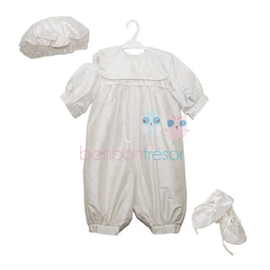 Christening - Baby Boy Silk Romper with Hat and Booties | Christening Rompers | Bon Bon Tresor