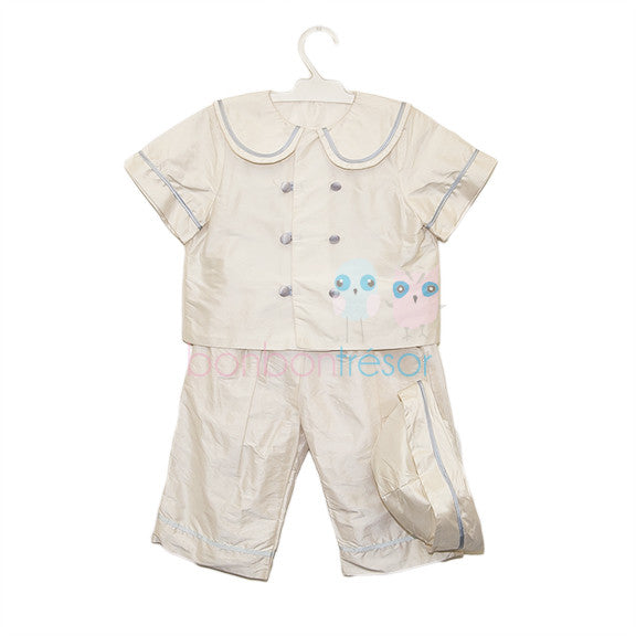 Christening - Baby Boy Silk White & Pale Blue Christening Set | Christening Suits & Sets | Bon Bon Tresor