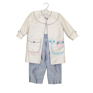 Christening - Baby Boy Silk 3 Piece Blue Suit Set | Christening Suits & Sets | Bon Bon Tresor