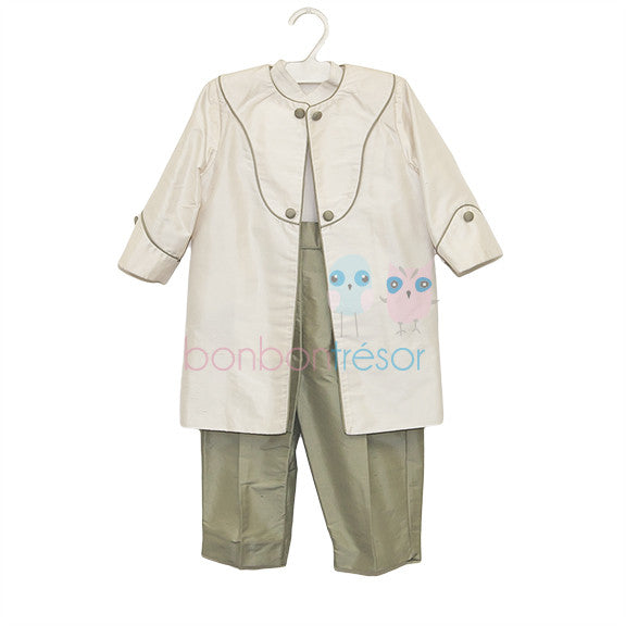 Christening - Baby Boy Silk 3 Piece Olive Suit Set | Christening Suits & Sets | Bon Bon Tresor