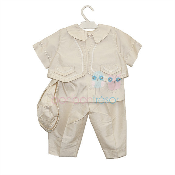 Christening - Baby Boy Ivory Silk Waistcoat Set | Christening Suits & Sets | Bon Bon Tresor