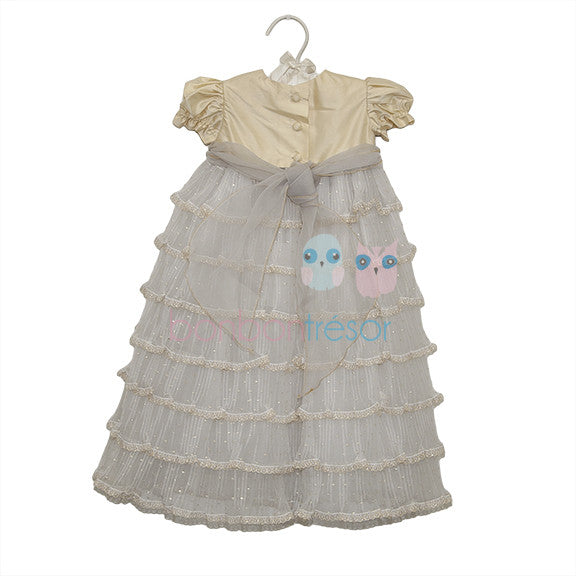 Christening - Baby Girl Gold Silk Dress - Bon Bon Tresor - 2