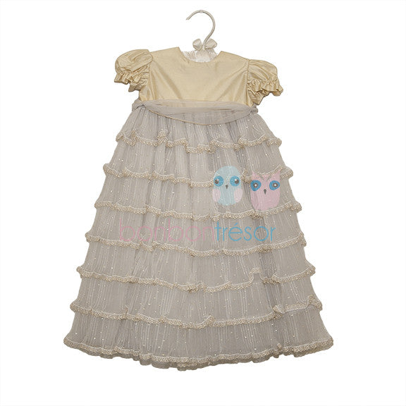 Christening - Baby Girl Gold Silk Dress - Bon Bon Tresor - 1