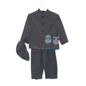 Christening - Boys Grey/Black 5 Piece Formal Suit | Christening Suits & Sets | Bon Bon Tresor