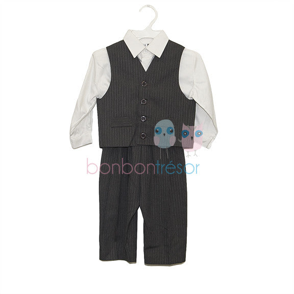 87fe40832563 Christening - Baby Boy Pinstripe Charcoal Grey 5 Piece Suit Set ...