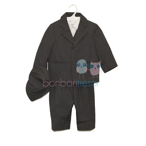 Christening - Baby Boy Pinstripe Charcoal 5 Piece Suit Set | Christening Suits & Sets | Bon Bon Tresor