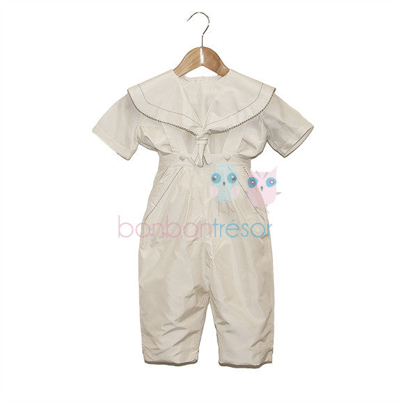 Christening - Baby Boy Silk 2 Piece Sailor Suit | Christening Suits & Sets | Bon Bon Tresor