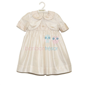 Christening - Baby Girl Pink Silk Dress With Bolero | Christening Gown & Dresses | Bon Bon Tresor