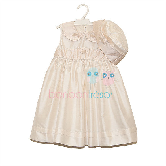 Christening - Baby Girl Pink Silk Dress With Bolero | Christening Dress | Bon Bon Tresor