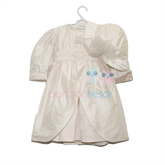 Christening - Baby Girl Pink and Ivory Silk Dress | Christening Gown & Dresses | Bon Bon Tresor