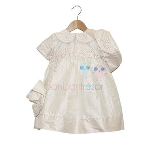 Christening - Baby Girl Silk Dress With Swarovski Elements | Christening Gown & Dresses | Bon Bon Tresor