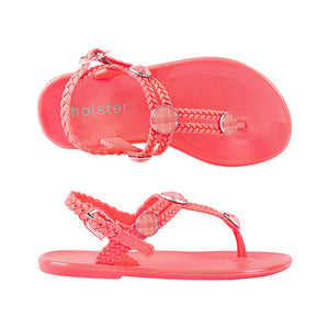 Holster Shoes - Girls St Tropez Coral Pink Sandals | Sandals | Bon Bon Tresor