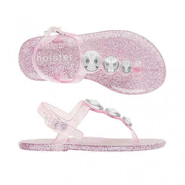 Holster Kids - Girls Starlight Clear Rose Pink Glitter Sandal | Sandals | Bon Bon Tresor