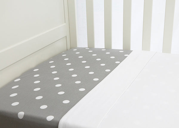 L'il Fraser Collection - Grey Polkadot Baby Cot Sheets Set - Bon Bon Tresor - 1