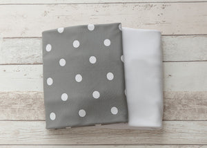 L'il Fraser Collection - Grey Polkadot Baby Cot Sheets Set | Cot Sheet | Bon Bon Tresor