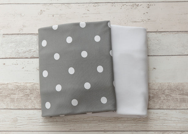 L'il Fraser Collection - Grey Polkadot Baby Cot Sheets Set - Bon Bon Tresor - 2