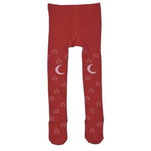 Little Wings - Baby Girl Red Starry Night Tights | Tights | Bon Bon Tresor