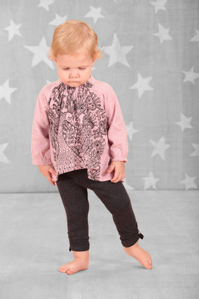 Little Wings - Baby Girl Pink Raglan Smock Top - Bon Bon Tresor - 1