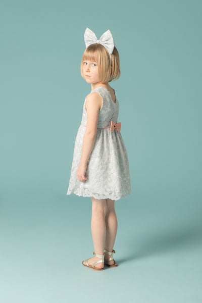 Hucklebones - Girls Powder Blue Lace Dress - Bon Bon Tresor - 3