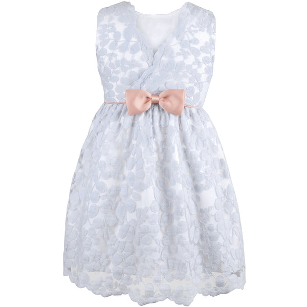 Hucklebones - Girls Powder Blue Lace Dress | Party Dresses | Bon Bon Tresor