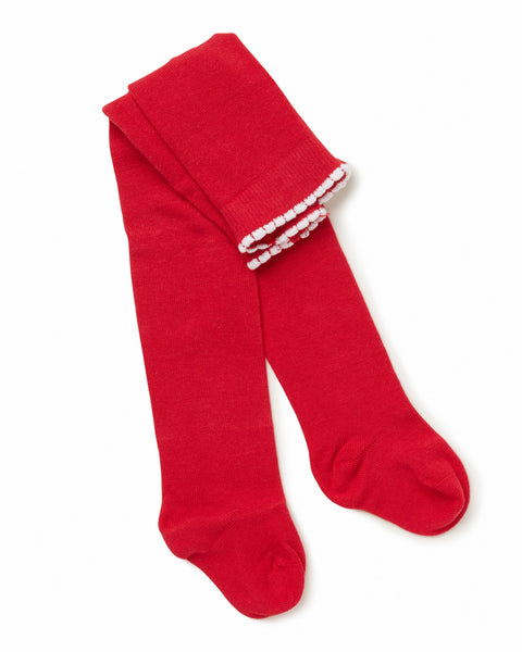 Marquise - Girls Red Knitted Tights | Tights | Bon Bon Tresor