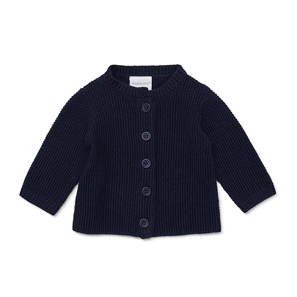 Marquise - Navy Cotton Knitted Cardigan | Sweaters & Knitwear | Bon Bon Tresor