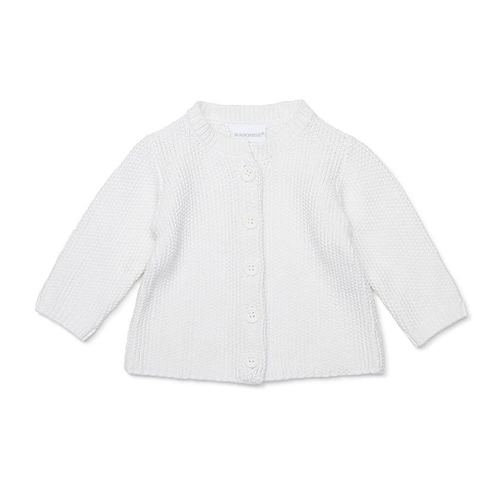 Marquise - White Cotton Knitted Cardigan | Sweaters & Knitwear | Bon Bon Tresor