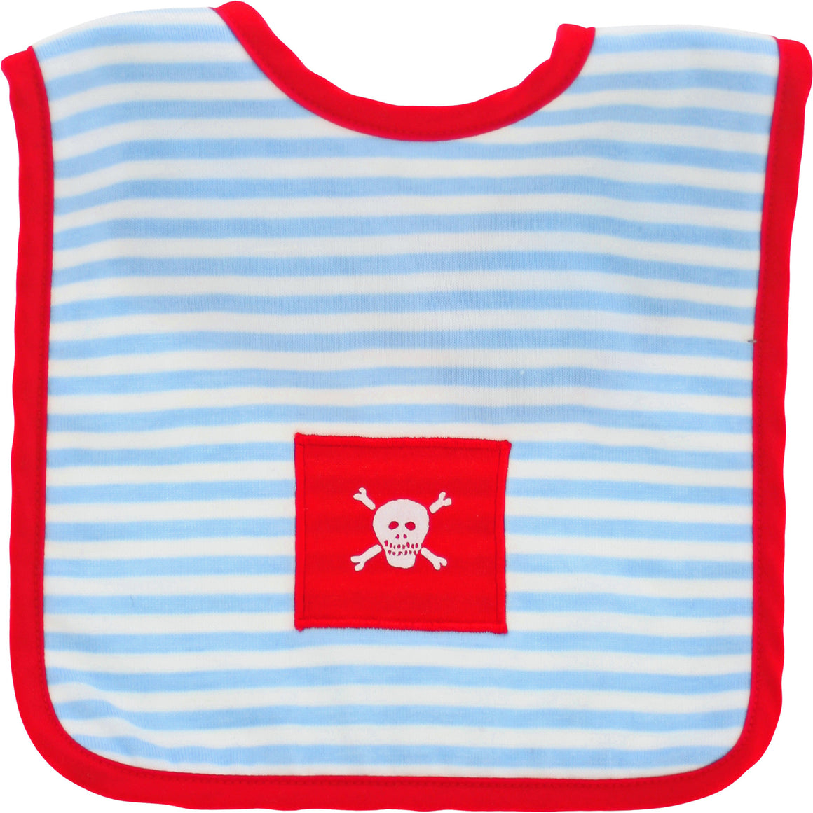 Alimrose Designs - Pale Blue Pirate Baby Bib | Bib & Smocks | Bon Bon Tresor