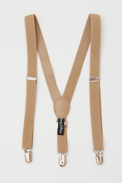 Foxy Fellow - Boys New England Tan Suspenders - Bon Bon Tresor