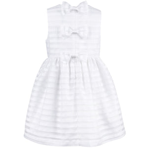 Hucklebones - White Organza Stripe Bodice Party Dress | Party Dresses | Bon Bon Tresor